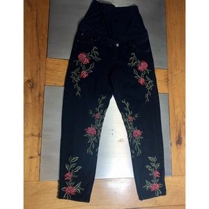 Topshop Maternity Mom Moto Rose Embroidered Jeans